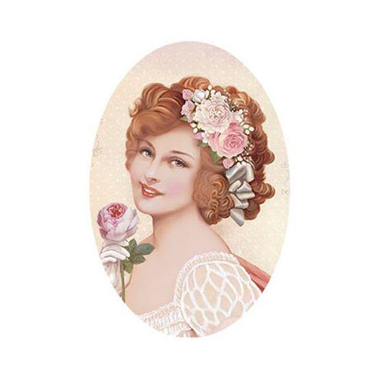 Aplique Decoupage Litoarte APM12-127 em Papel e MDF 12cm Dama com Flores