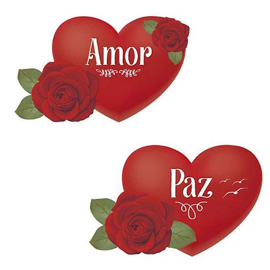 Aplique Decoupage Litoarte APM4-330 em Papel e MDF 4cm Coração com Rosa Paz e Amor