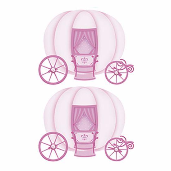 Aplique Decoupage Litoarte APM4-283 em Papel e MDF 4cm Carruagem de Princesa