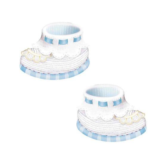 Aplique Decoupage Litoarte APM4-322 em Papel e MDF 4cm Sapatinho Bebê Azul