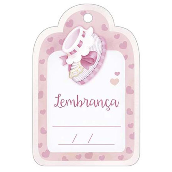 Aplique Decoupage Litoarte APM8-1014 em Papel e MDF 8cm Sapatinho de Bebê Feminino