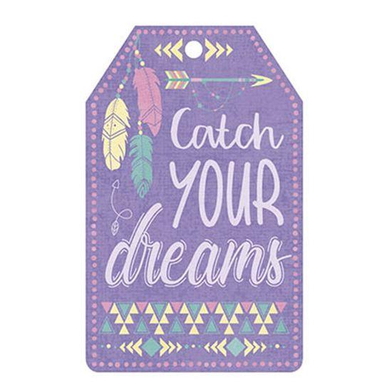 Aplique Decoupage Litoarte APM8-1053 em Papel e MDF 8cm Tag Catch Your Dreams