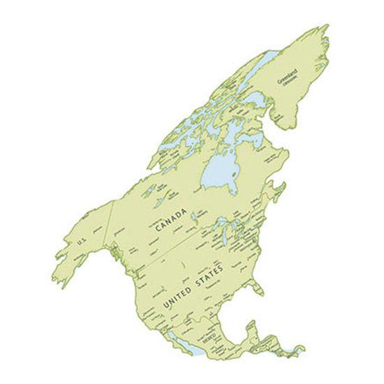 Aplique Decoupage Litoarte APM8-1059 em Papel e MDF 8cm Mapa da América do Norte