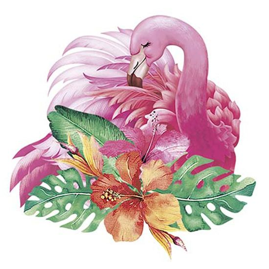 Aplique Decoupage Litoarte APM8-1026 em Papel e MDF 8cm Flamingo Tropical