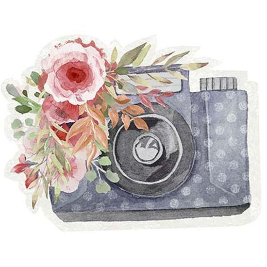 Aplique Decoupage Litoarte APM8-1217 em Papel e MDF 8cm Amor Love Story Máquina Fotográfica