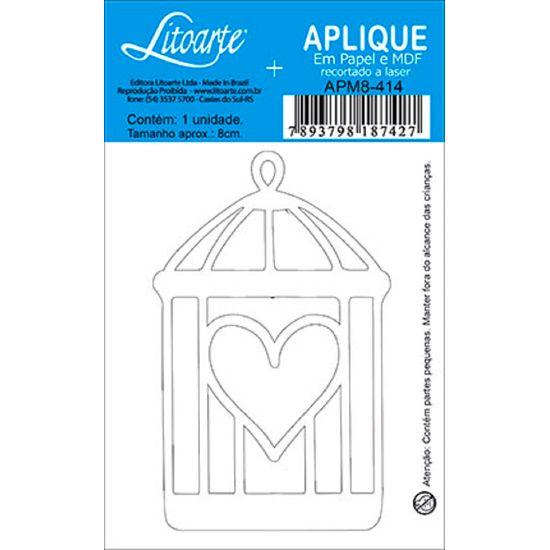 Aplique Decoupage Litoarte APM8-414 em Papel e MDF 8cm Gaiola Coração
