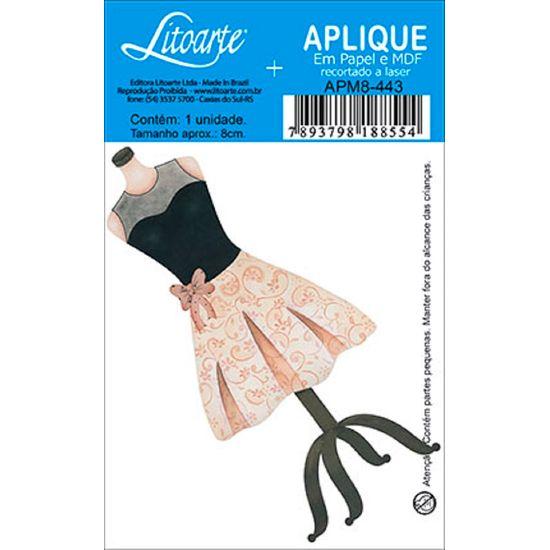 Aplique Decoupage Litoarte APM8-443 em Papel e MDF 8cm Vestido