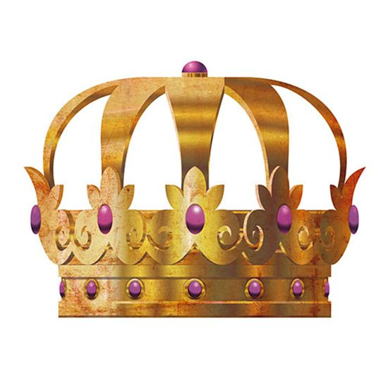 Aplique Decoupage Litoarte APM8-521 em Papel e MDF 8cm Coroa Dourada Pedra Lilás