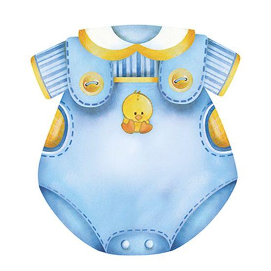 Aplique Decoupage Litoarte APM8-573 em Papel e MDF 8cm Macacão Masculino Bebê