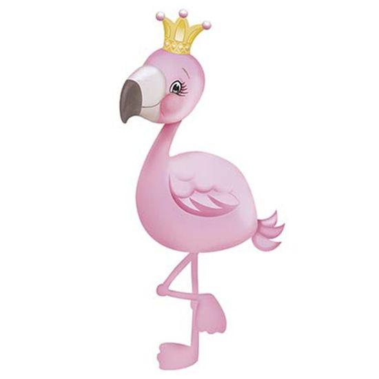 Aplique Decoupage Litoarte APM8-869 em Papel e MDF 8cm Flamingo com Coroa