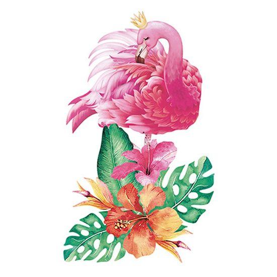 Aplique Decoupage Litoarte APM8-870 em Papel e MDF 8cm Flamingo Flores Tropicais