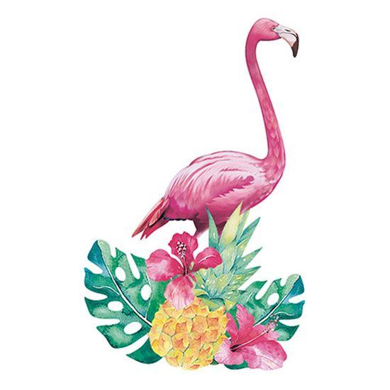 Aplique Decoupage Litoarte APM8-871 em Papel e MDF 8cm Flamingo Flores Tropicais
