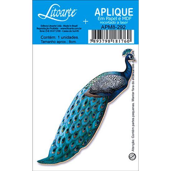 Aplique Decoupage Litoarte APM8-292 em Papel e MDF 8cm Pavão