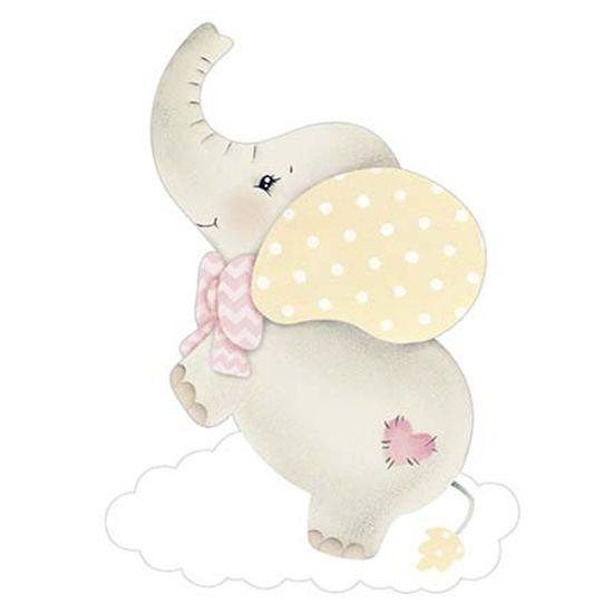 Aplique Decoupage Litoarte APM8-964 em Papel e MDF 8cm Elefante Bebê Menina com Nuvem