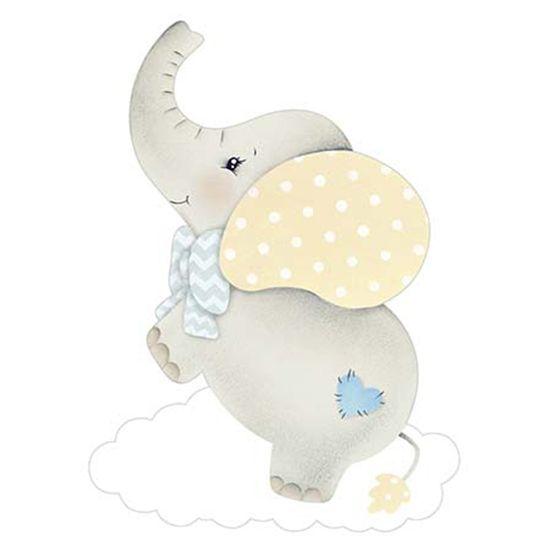 Aplique Decoupage Litoarte APM8-967 em Papel e MDF 8cm Elefante Bebê Menino Nuvem