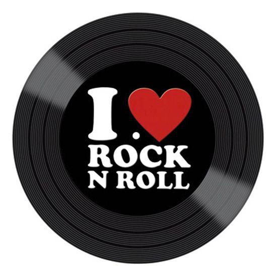 Aplique Decoupage Litocart LMAPC-412 em Papel e MDF 10cm Disco Vinil I Love Rock N Roll