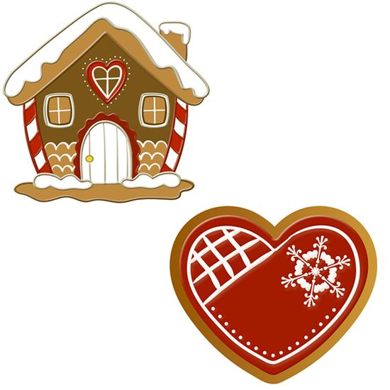 Aplique Decoupage Natal Litoarte APMN4-022 em Papel e MDF 4cm Biscoito Casinha