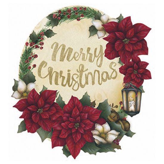 Aplique Decoupage Natal Litoarte APMN8-090 em Papel e MDF 8cm Poinsétia com Luminária