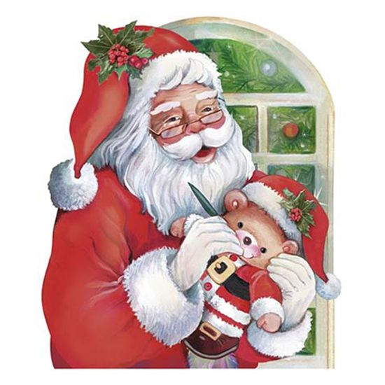 Aplique Decoupage Natal Litoarte APMN8-091 em Papel e MDF 8cm Papai Noel Janela com Ursinho