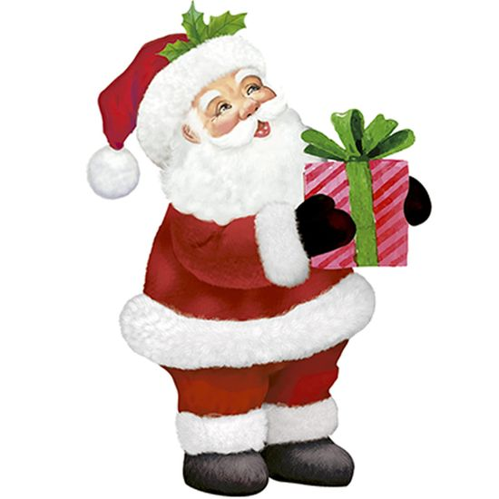 Aplique Decoupage Natal Litoarte APMN8-146 em Papel e MDF 8cm Noel Presente