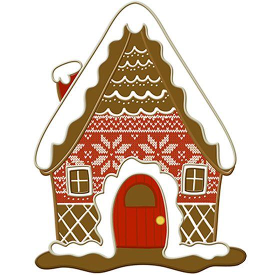 Aplique Decoupage Natal Litoarte APMN8-153 em Papel e MDF 8cm Biscoito Casa