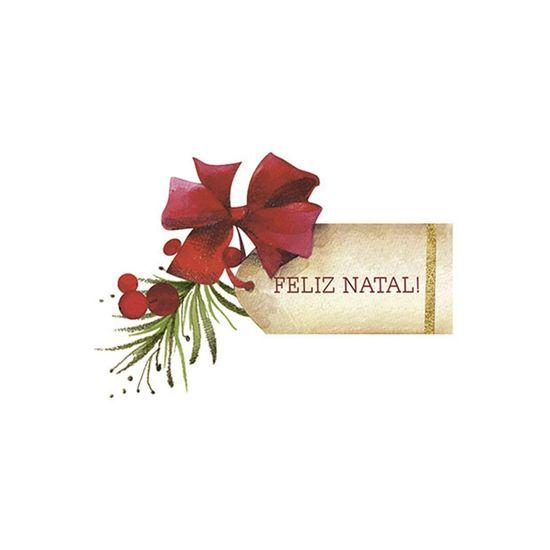 Aplique Decoupage Natal Litoarte APMN8-128 em Papel e MDF Tag Feliz Natal
