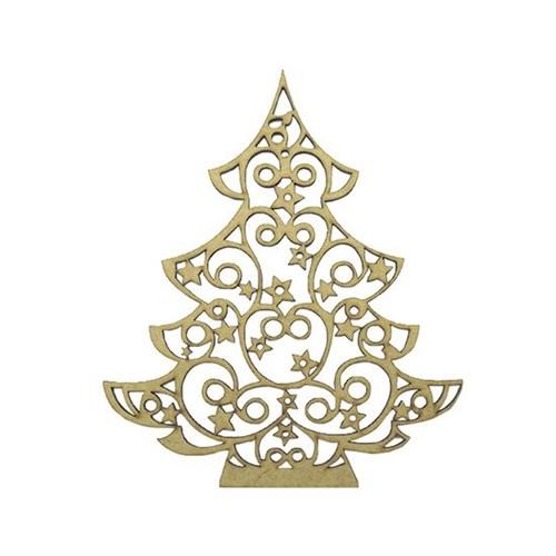 Aplique em MDF Árvore de Natal com Estrelas 16,8x14cm - Palácio da Arte