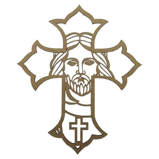 Aplique em MDF Crucifixo Detalhe 20x15cm - Palácio da Arte