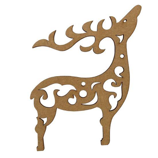 Aplique em MDF Natal 8x6,5cm Rena Arabesco - Palácio da Arte