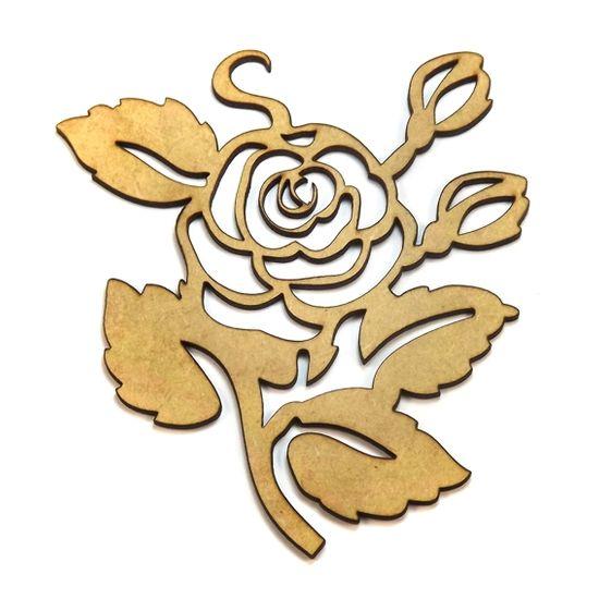 Aplique em MDF Rosa com Flores Vazada 11,5x10,5cm - Palácio da Arte