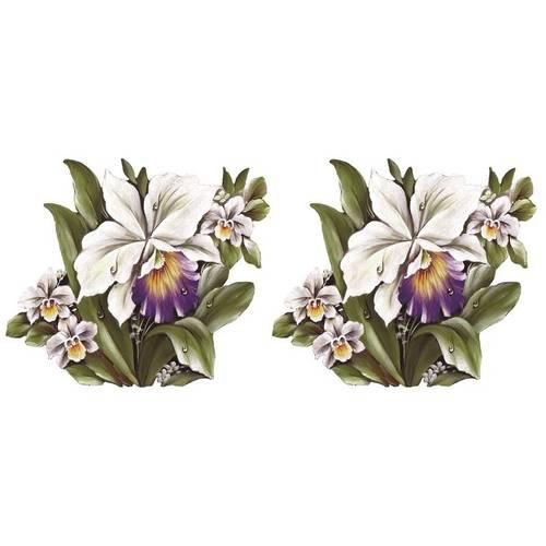 Aplique em Tecido Orquideas Brancas Atm004 - Toke e Crie By Mamiko