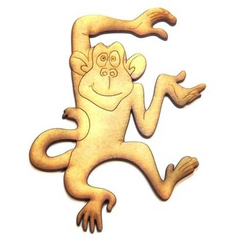 Aplique Macaco Feliz Médio - Mdf a Laser