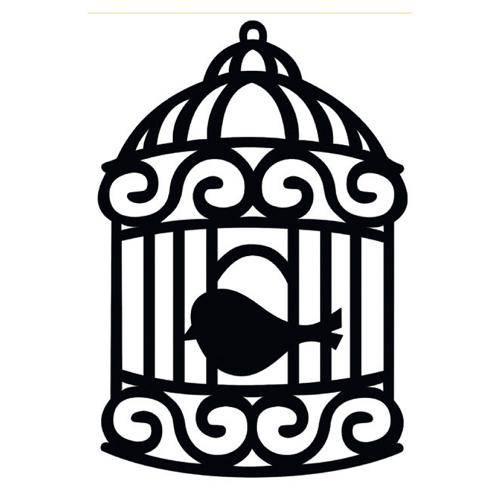 Aplique Madeira Decorativa Gaiola Passarinho Preto Lmd-001 - Litocart