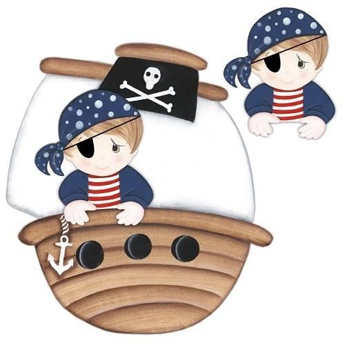 Aplique Madeira e Papel 3d Pirata Ldmpc-014 - Litocart