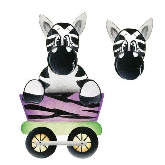 Aplique Madeira e Papel 3D Zebra LDMPC-020 - Litocart