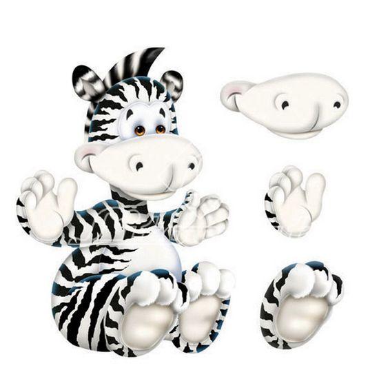 Aplique Madeira e Papel 3D Zebra LDMPC-005 - Litocart