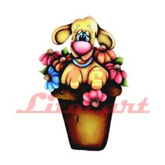 Aplique Madeira e Papel Dog Flores LMAPC-14 Litocart