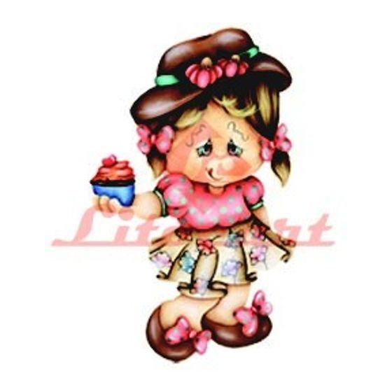 Aplique Madeira e Papel Menina Cupcake LMAPC-42 Litocart