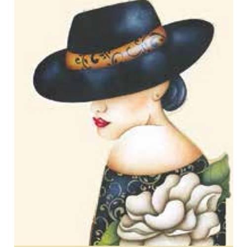 Aplique Madeira e Papel Mulher com Chapéu Flores Lmapc-204 - Litocart