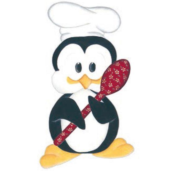 Aplique Madeira e Papel Placa Pinguim com Colher Lmapc-256 - Litocart