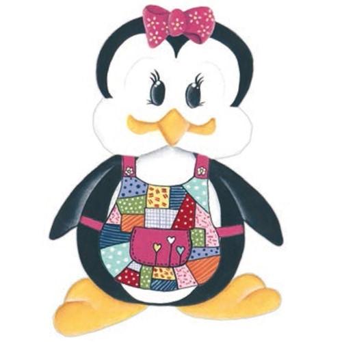 Aplique Madeira e Papel Placa Pinguim de Avental Lmapc-258 - Litocart