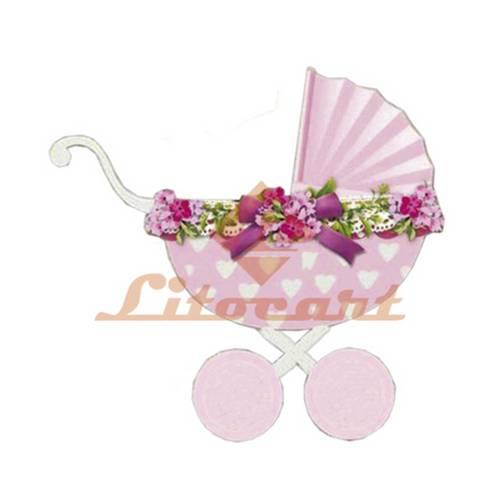 Aplique Mdf Decoupage Carrinho de Bebê Rosa Lmapc-359 - Litocart