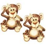 Aplique Mdf Decoupage com 2 Unidades Macaco Lmap-010 - Litocart