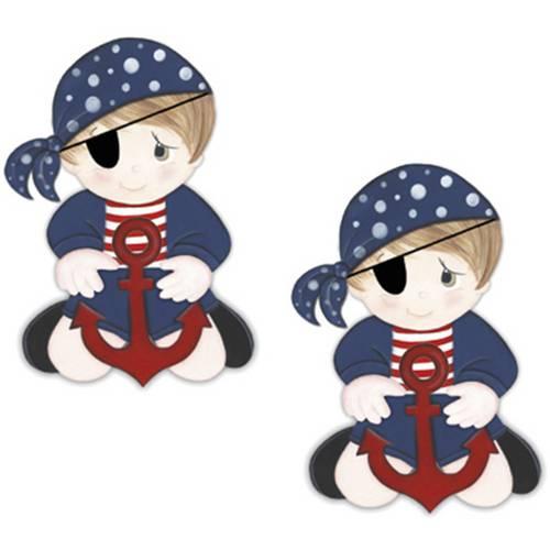 Aplique Mdf Decoupage com 2 Unidades Menino Pirata Lmap-035 - Litocart