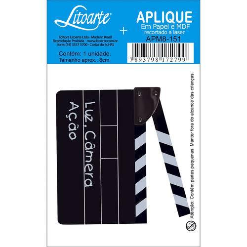 Aplique Mdf e Papel Litoarte 8 Cm - Modelo Apm8- 151 Claquete