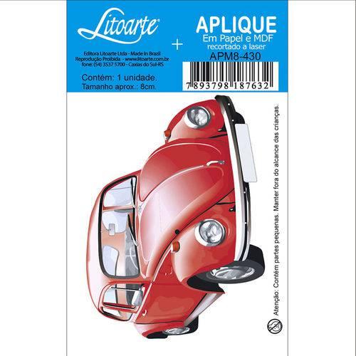 Aplique Mdf e Papel Litoarte 8 Cm - Modelo Apm8- 430 Fusca Vermelho