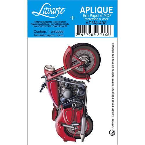 Aplique Mdf e Papel Litoarte 8 Cm - Modelo Apm8- 408 Moto Vermelha