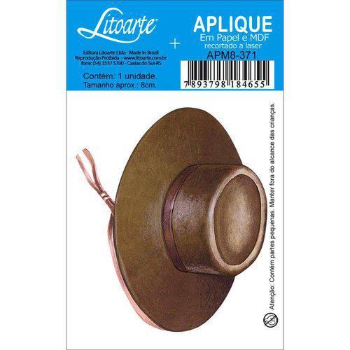 Aplique Mdf e Papel Litoarte 8 Cm - Modelo Apm8- 371 Chapéu