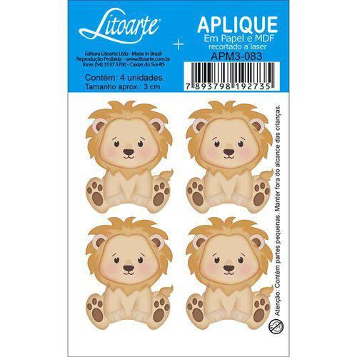 Aplique Mdf e Papel Litoarte 3 Cm - Modelo Apm3- 083 Leão