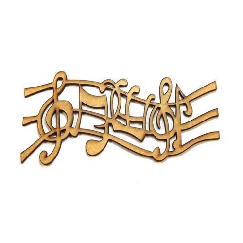 Aplique Notas Musicais - Mdf a Laser Crua Médio